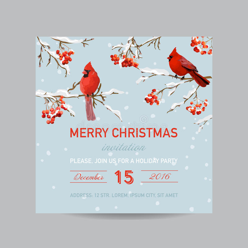 Christmas Invitation Card - Winter Birds and Berries royalty free illustration