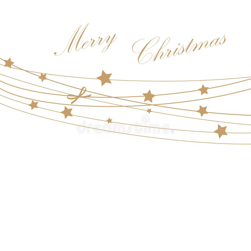 Christmas Invitation, Greeting or Gift card with golden stars on the rope. stock illustration