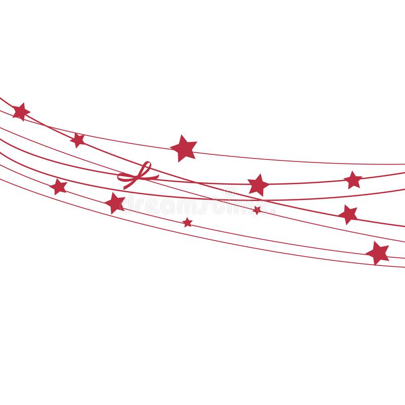 Christmas Invitation, Greeting or Gift card with red stars on the rope. stock illustration