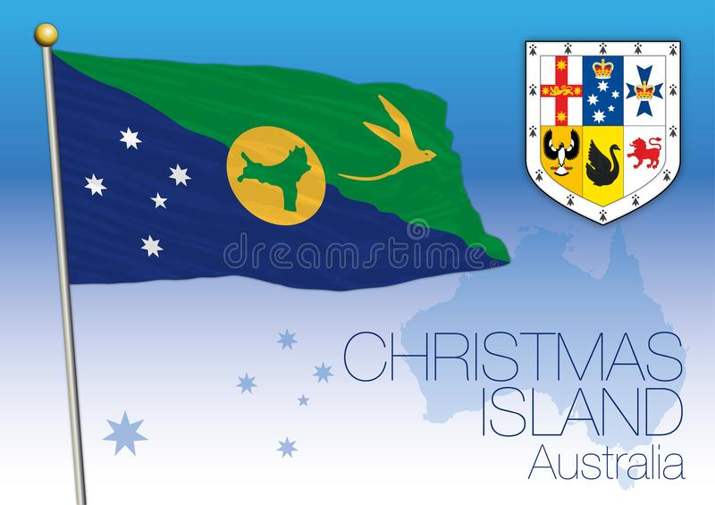 Christmas Island, flag of the state and territory, Australia stock illustration