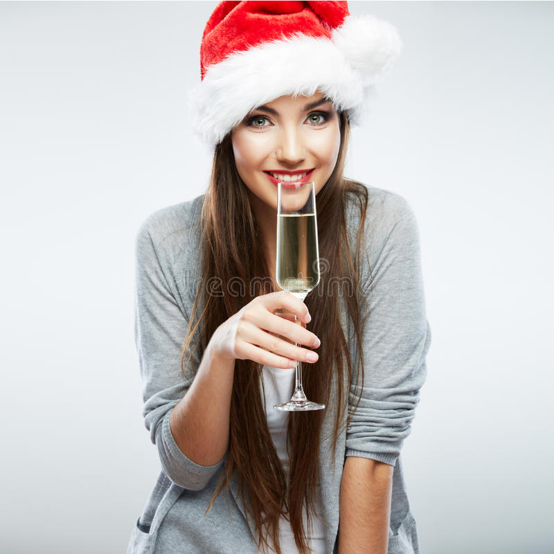 Christmas isolated woman portrait hold wine glass. stock photography