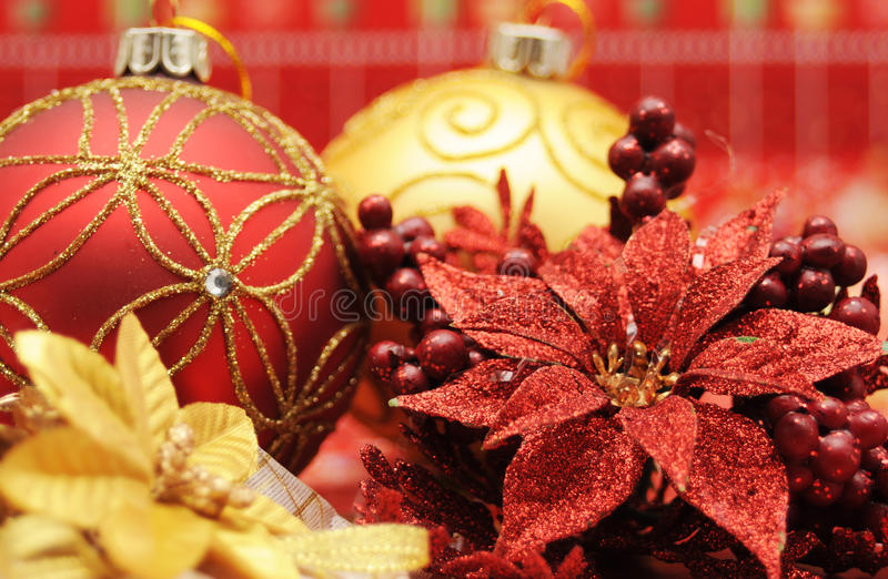 Christmas items. Gold and red christmas balls and decorations