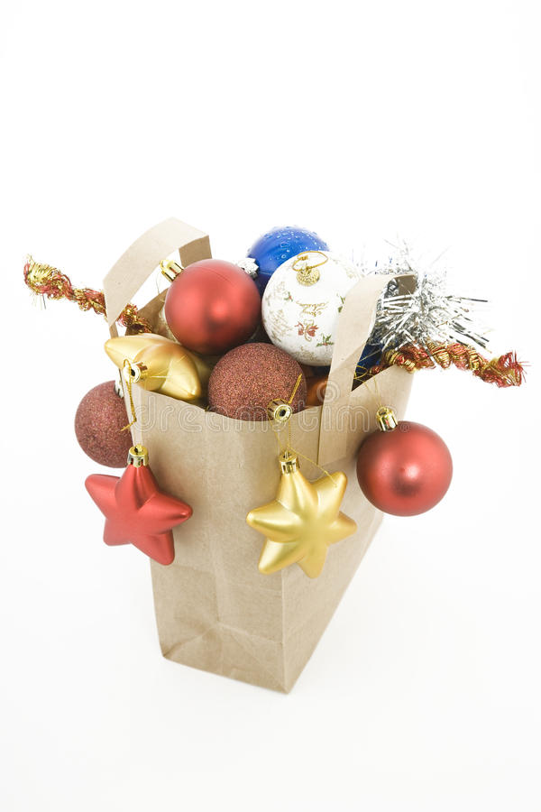 Christmas Items In Shopping  Bag Royalty Free Stock Photography