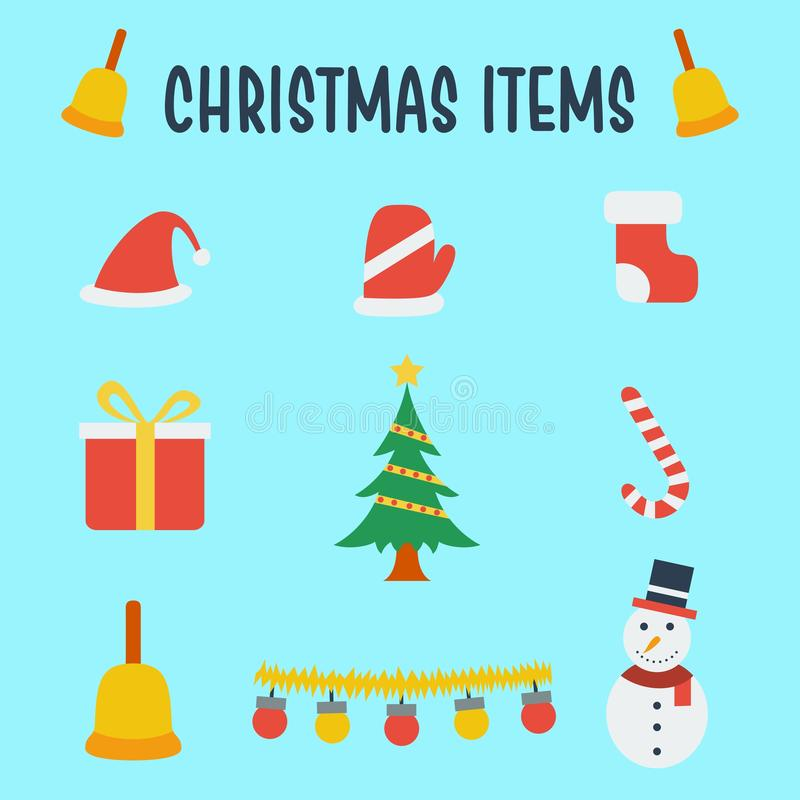 Christmas items vector illustration