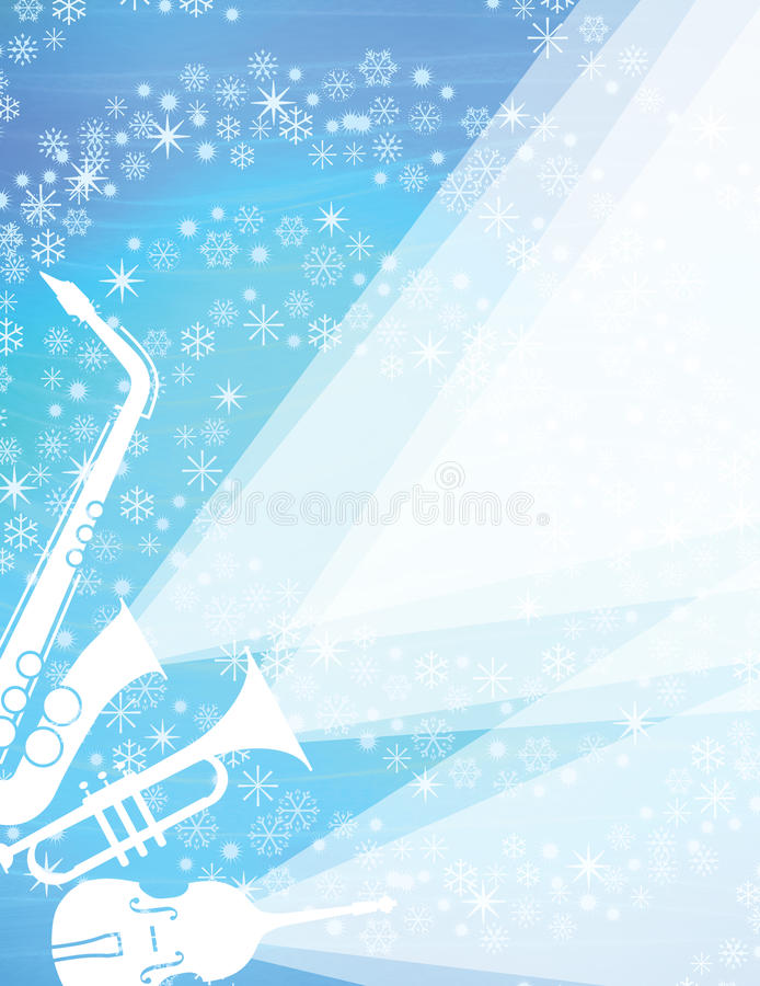 Christmas Jazz Concert. This winter concert, with cool jazz instruments, features winter snowflakes. Brass, saxophone and bass play! This fun, retro-modern vector illustration