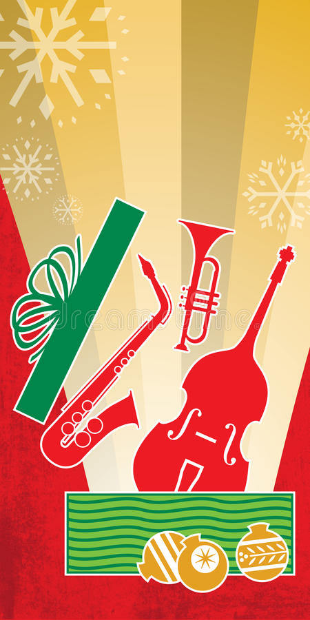 Christmas Jazz Concert Red. This Christmas concert graphic, with cool jazz instruments bursting from a wrapped holiday present, features winter snowflakes and vector illustration