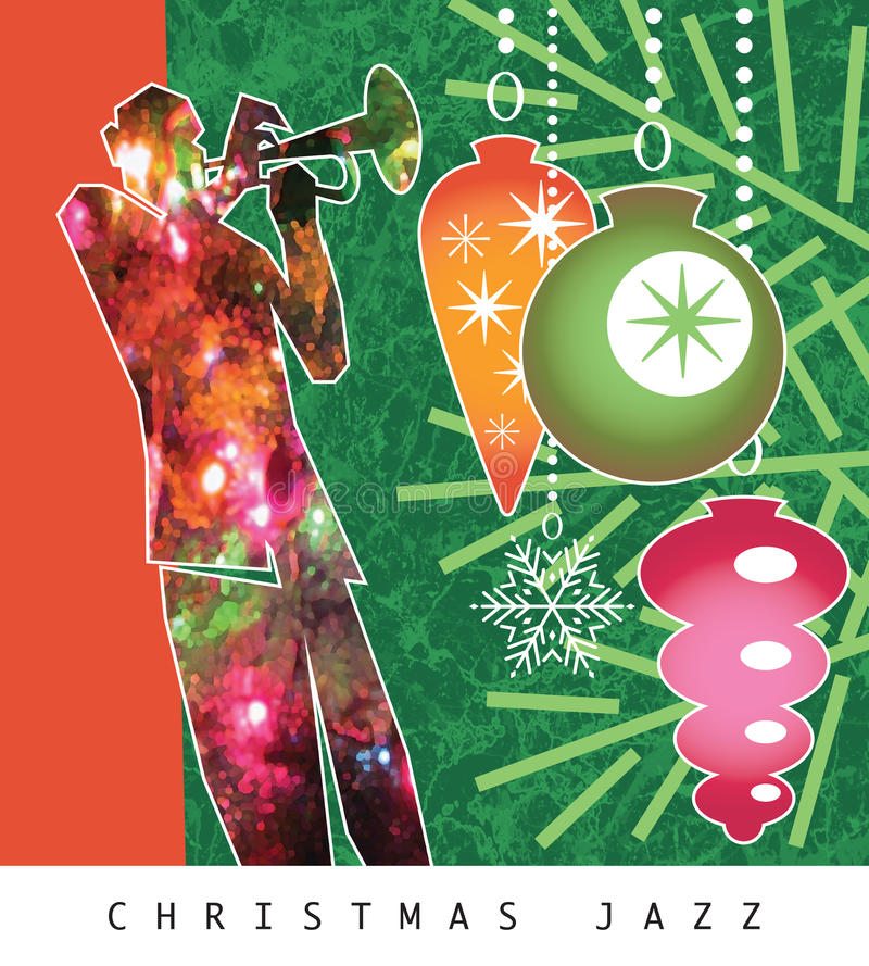 Christmas Jazz Horn. Cool jazz, a red and green horn player and Christmas tree ornaments usher in the holidays in this fun, retro-modern illustration design vector illustration