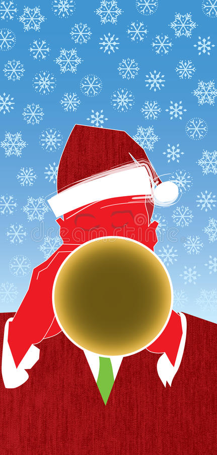 Christmas Jazz Trumpet. Cool jazz and a red hot horn player usher in the holidays in this fun, retro-modern illustration design. This trumpet piece is useful in vector illustration