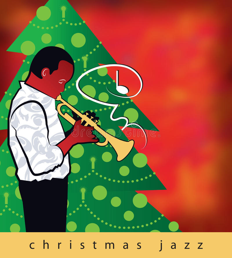 Christmas Jazz Trumpet. A jazz trumpet with a Christmas song, framed by a Christmas tree, ushers in the holidays in this fun, retro-modern illustration design royalty free illustration