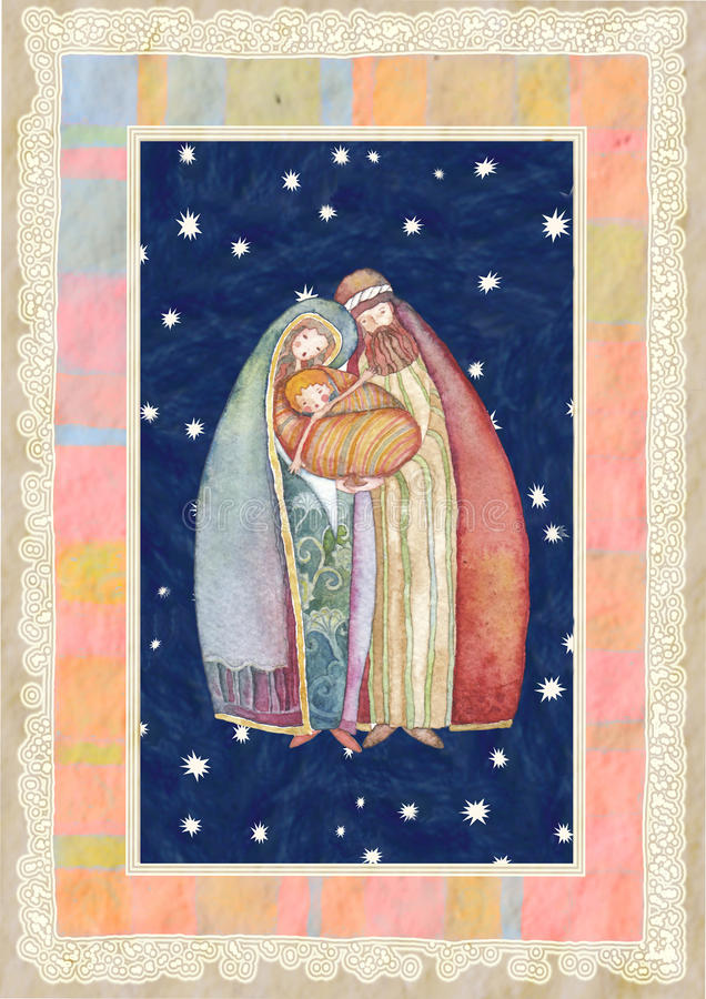 Christmas: Jesus Christ , Joseph, Mary stock illustration