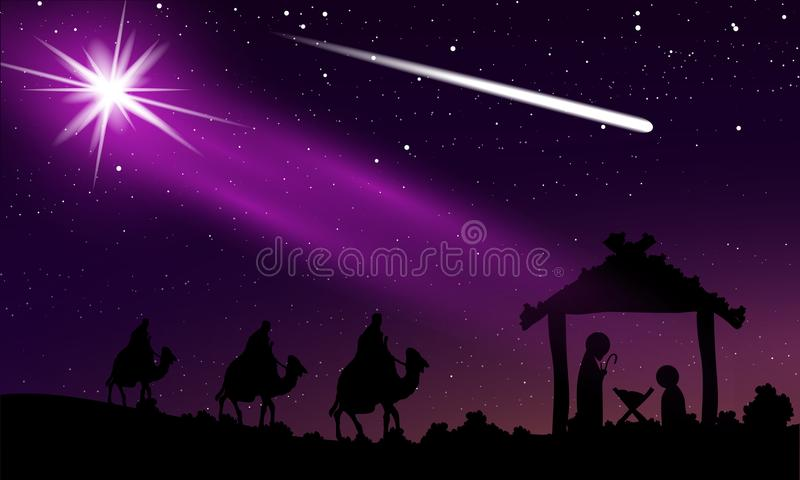 Christmas of Jesus and comet in the night starry sky. Vector art illustration royalty free illustration