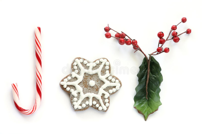 Christmas Joy (without border). Another in the series. A whimsical look at Christmas joy with letters made out of candy cane, gingerbread, and holly berries to