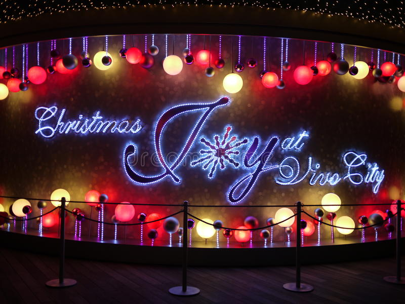 Christmas Joy at Vivo City. Christmas Decorations that says Christmas Joy at Vivo City stock photos