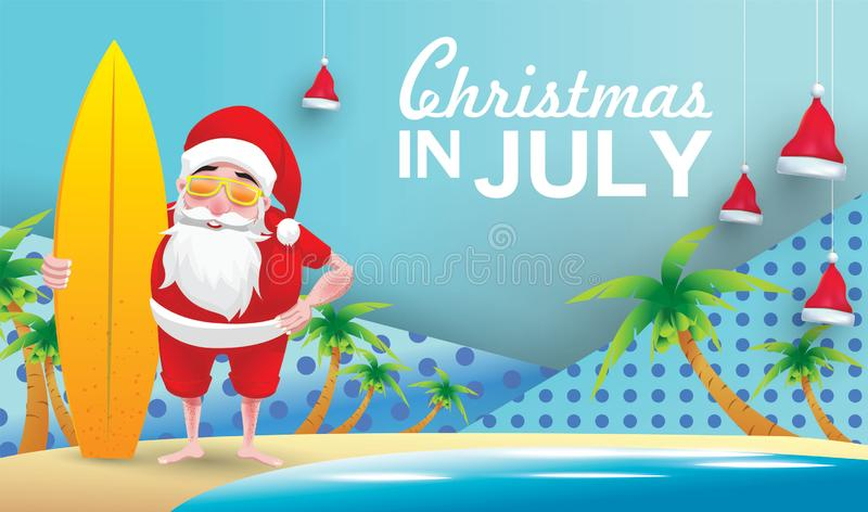 Christmas in july. Christmas in June, July, August, for poster, marketing, advertising, summer sale, greeting card. santa in summer with copy space for text royalty free illustration