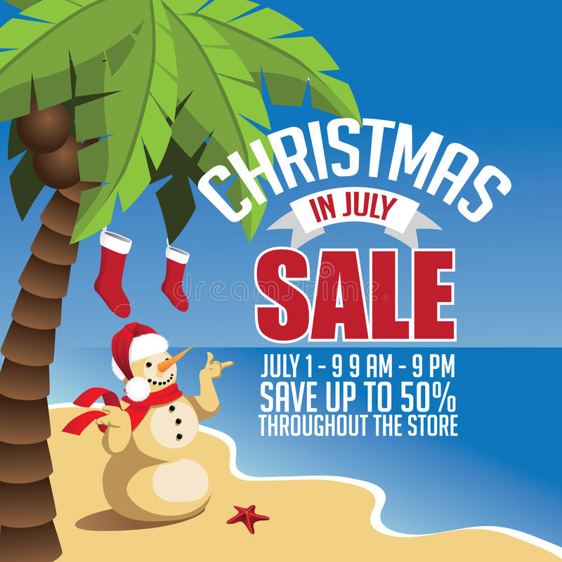 Christmas in July Sale marketing template. EPS 10 vector stock illustration