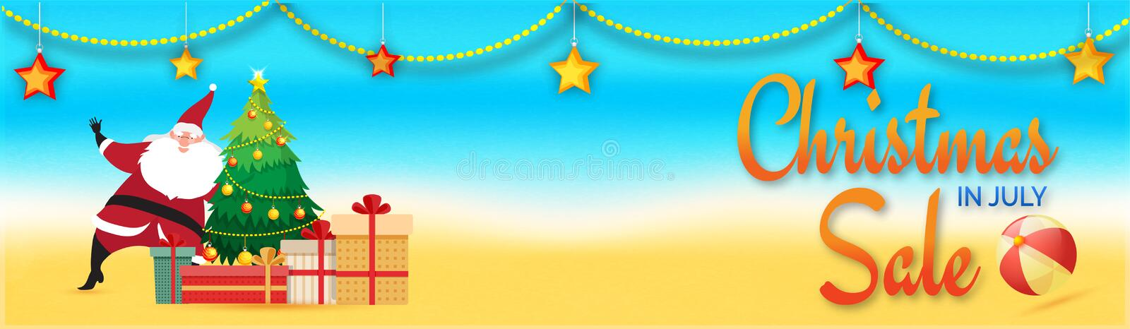 Christmas in July Sale, web header or banner design with Santa C. Laus, Xmas Tree, Gift Boxes and hanging stars on beach background royalty free illustration