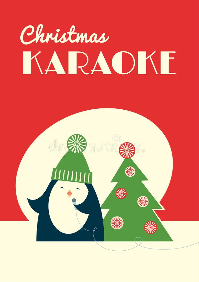 Christmas karaoke penguin. Retro styled Christmas karaoke party invitation leaflet. Cute cartoon penguin singing into a microphone standing near decorated fir royalty free illustration