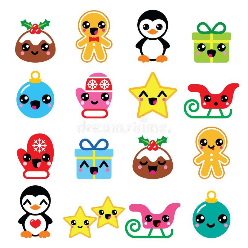 Christmas Kawaii icons - Christmas pudding, penguin, gingerbread man stock illustration