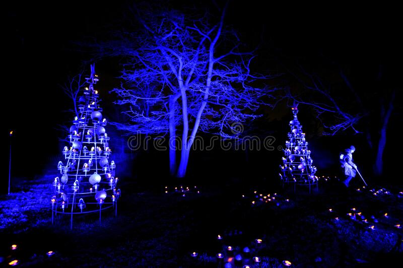 Christmas at Kew is a magical light trail across Kew Gardens making the perfect festive winter evening event. Brand new trail to illuminate the magnificent royalty free stock image