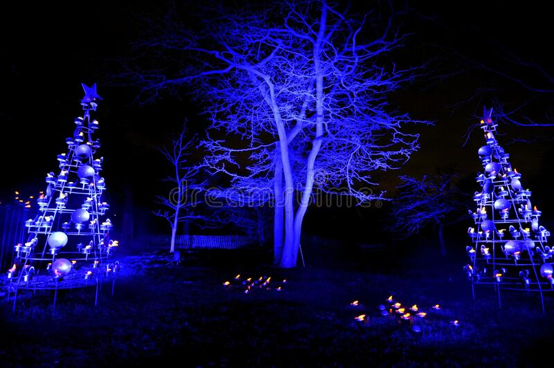 Christmas at Kew is a magical light trail across Kew Gardens making the perfect festive winter evening event. Brand new trail to illuminate the magnificent stock photography