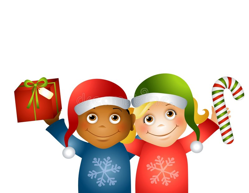 Christmas Kids Friends. An illustration featuring a couple of kids hugging and holding Christmas gifts wearing Santa hats stock illustration