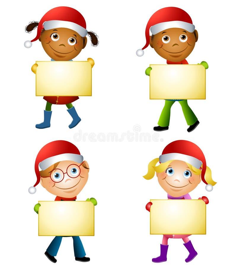 Christmas Kids Holding Signs vector illustration