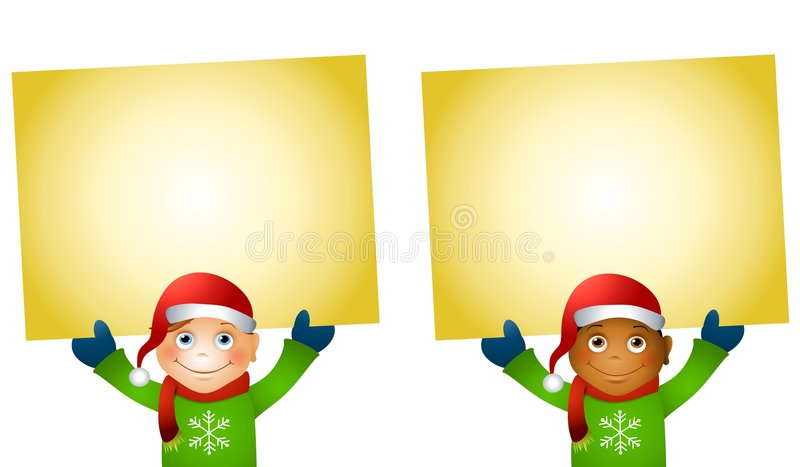 Christmas Kids Holding Signs. An illustration featuring your choice of boys holding signs with a holiday theme dressed in Santa hats royalty free illustration
