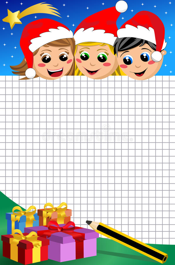Christmas Kids Looking At Empty Squared Sheet Stock Photo
