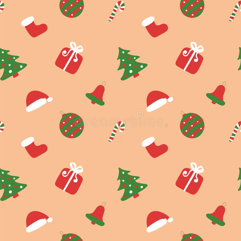 Christmas kids pattern. Winter holiday wallpaper. Seamless texture for the New Year. Santa`s boot and hats. Christmas tree, bag, stock illustration