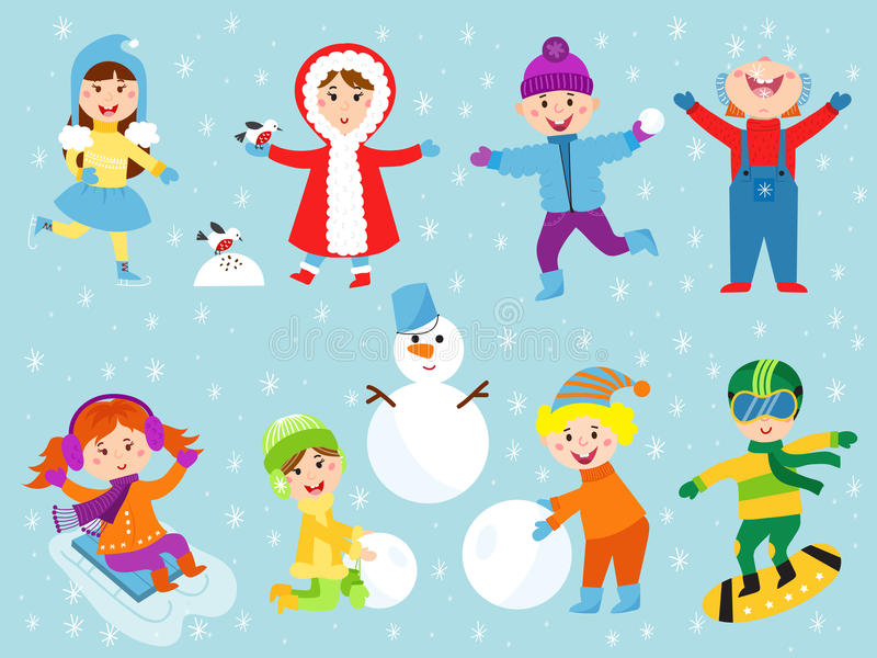Christmas kids playing winter games royalty free illustration