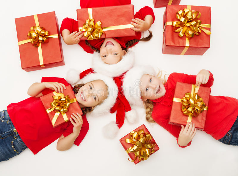 Download Christmas Helpers Kids With Red Presents Gift Box Stock Image - Image: 35087389