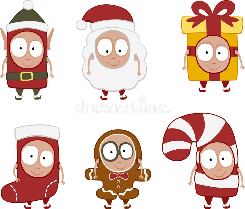 Christmas kids set 1 vector illustration