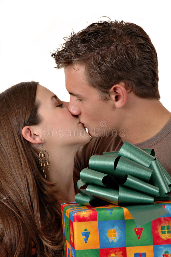 Download Christmas Kiss stock photo. Image of kiss, female, handsome - 1312000