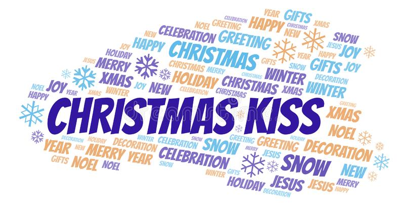 Christmas Kiss word cloud stock illustration