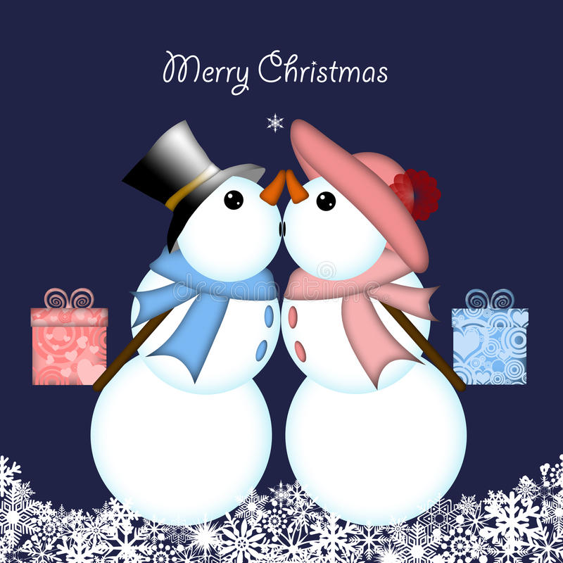 Download Christmas Kissing Snowman Couple Giving Gifts Stock Illustration - Image: 17110891