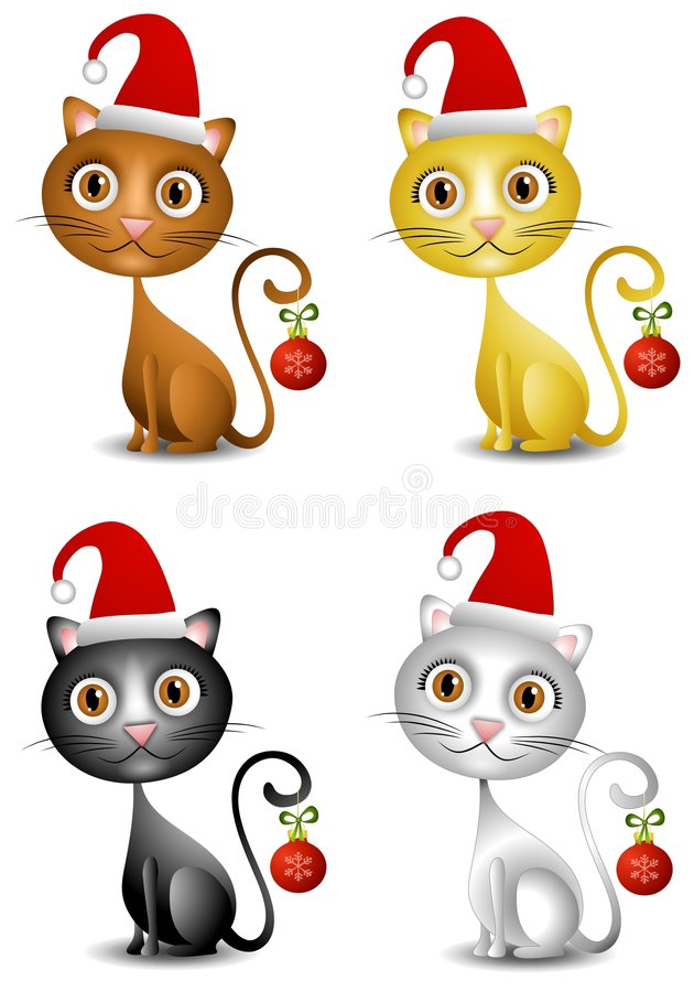 Christmas Kittens. An illustration featuring your choice of cute kittens in brown, gold, black and white dressed in Santa hats and holding ornaments with their vector illustration