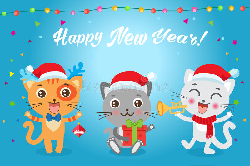 Download Christmas Kittens Vector. Cat In Christmas Costumes. Design For New Year Holiday Theme  sc 1 st  Dreamstime.com & Christmas Kittens Vector. Cat In Christmas Costumes. Design For New ...