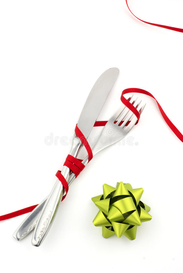 Download Christmas knife and fork stock photo. Image of covered - 13968464