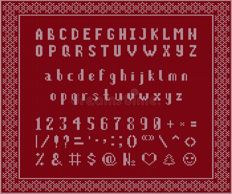 Christmas knitted font. Latin Alphabet on seamless background royalty free stock photos