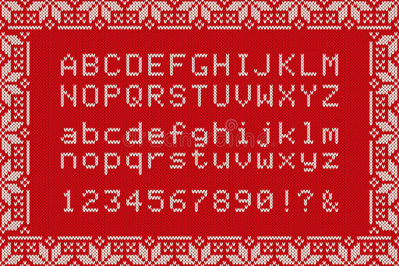 Christmas Knitted Font. Nordic Fair Isle Knitting Sweater Design ...
