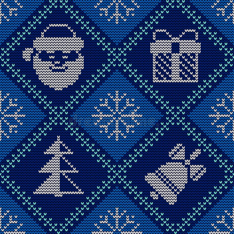 Christmas knitted seamless blue pattern. Good for wrapping. All elements are on separate layers. Christmas knitted seamless pattern on blue knitted texture stock illustration