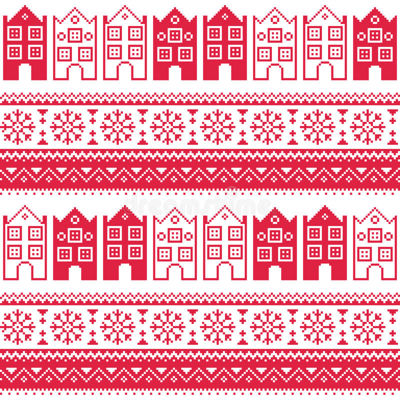 christmas knitted seamless pattern with town houses  adn snowflakes stock illustration