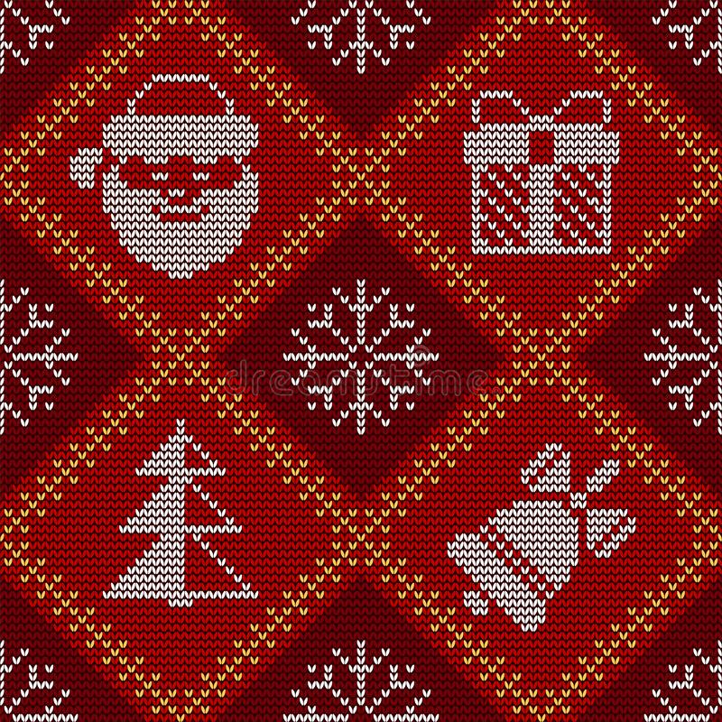 Christmas knitted seamless red pattern. Good for wrapping. All elements are on separate layers. Christmas knitted seamless pattern on red knitted texture. Good vector illustration