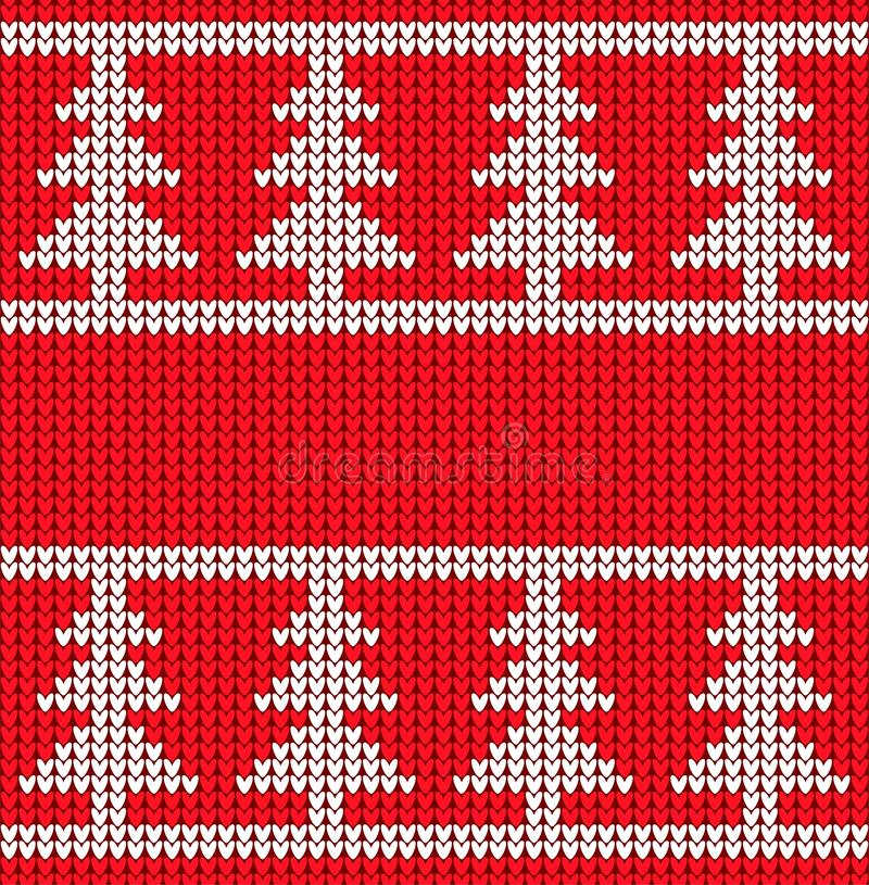 Christmas knitted texture. Vector seamless pattern sweater style. White Christmas trees on a red knitted background. stock illustration