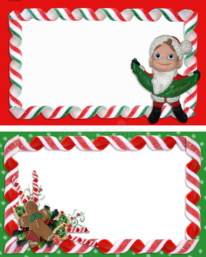 Christmas Label Borders Ribbon Candy vector illustration