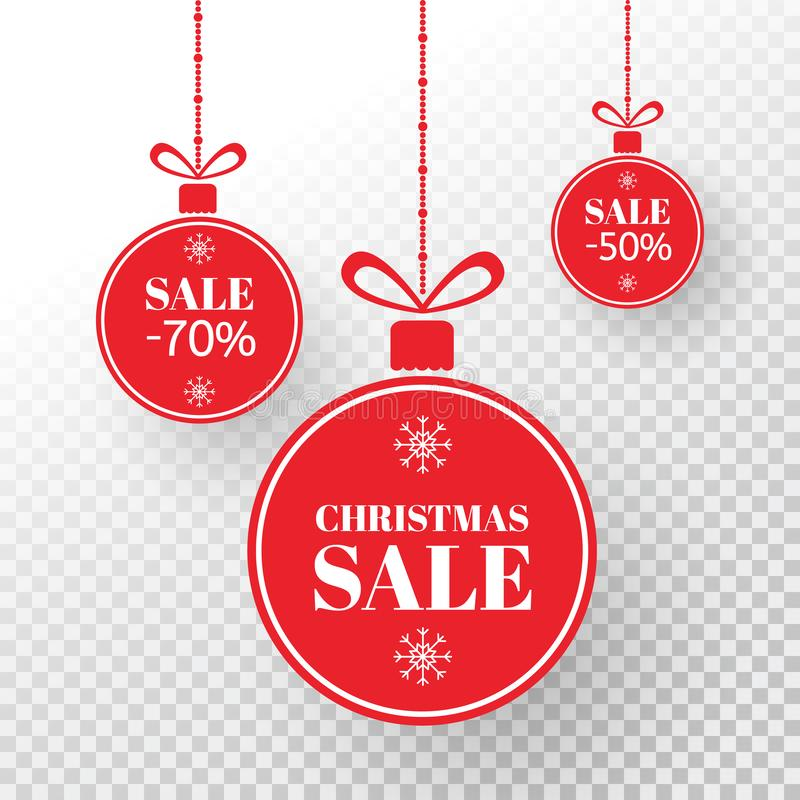 Christmas label. Red xmas balls with sign sale, special offer. Merry Christmas and New Year balls sale. Holiday design stock photo