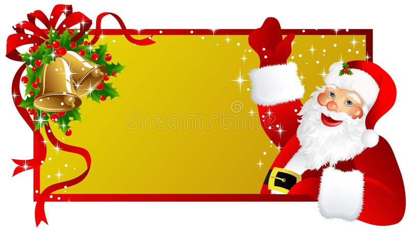 Christmas label Santa Claus stock images