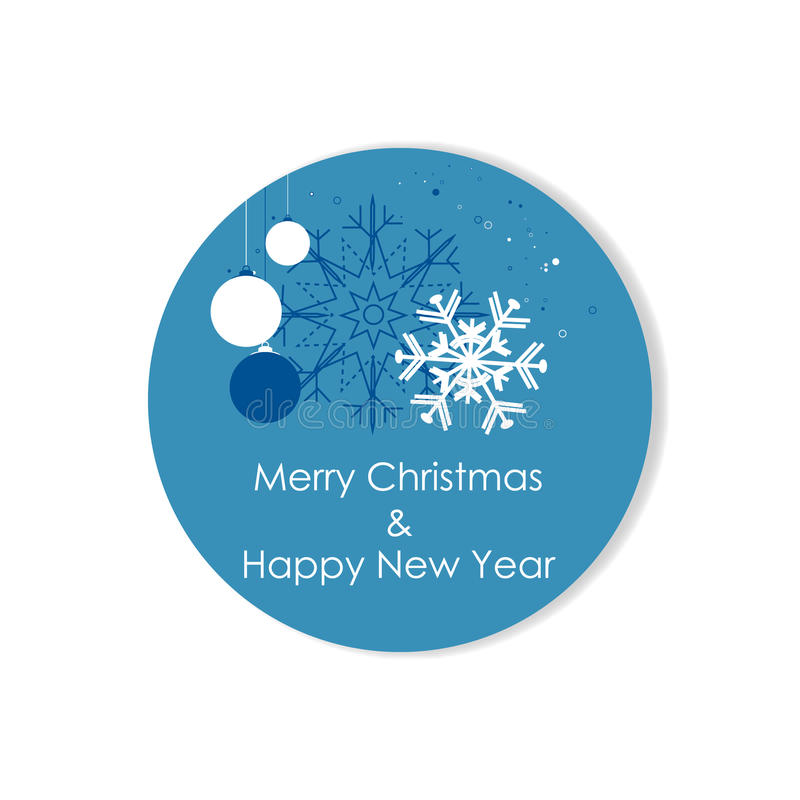 Christmas label on a white background with christmas ball and snowflakes royalty free illustration