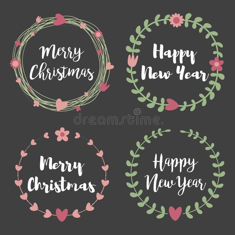 Christmas Labels and Badges. Set of floral wreath frame for Merry Christmas and Happy New Year invitations, birthday vector illustration