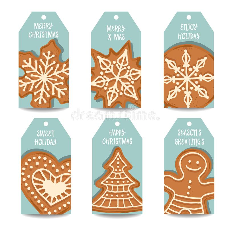 Christmas labels collection with gingerbread royalty free illustration